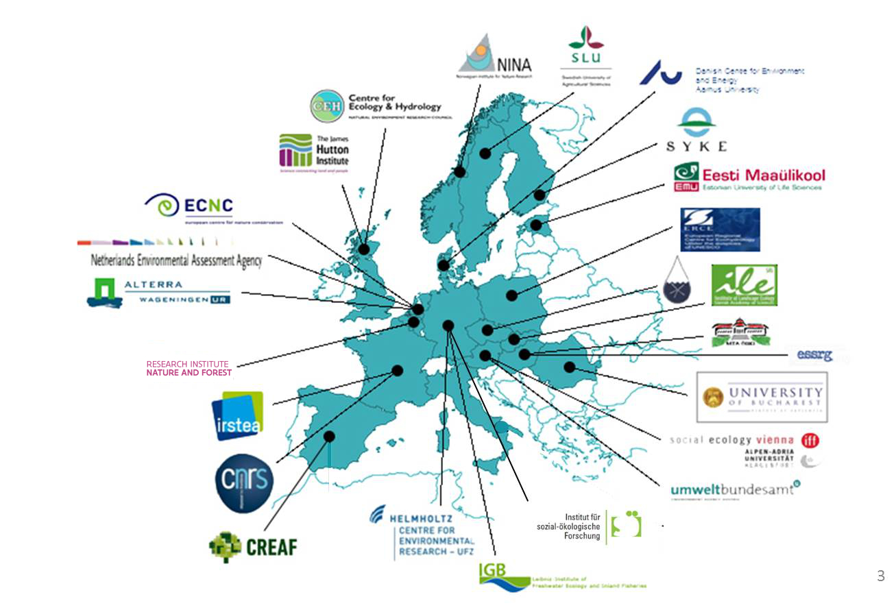 Map of Europe with ALTER-Net partner institutes
