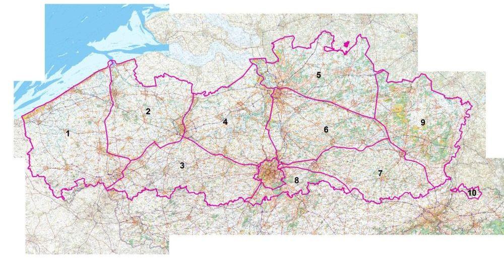 Kaart van de Vlaamse faunabeheerzones