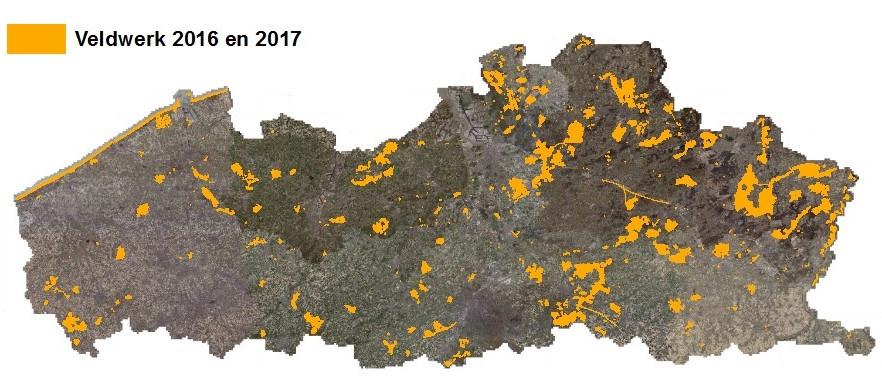 In kaart gebrachte gebieden in 2016 en 2017