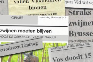 collage van krantenkoppen rond vos en everzwijn