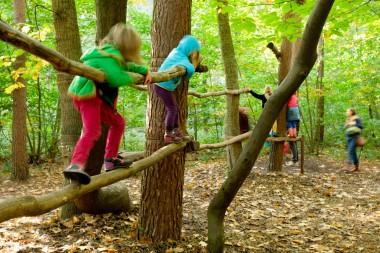 foto van kinderen die spelen in bos